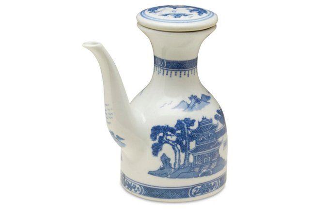 Canton Oil Bottle, Blue/White