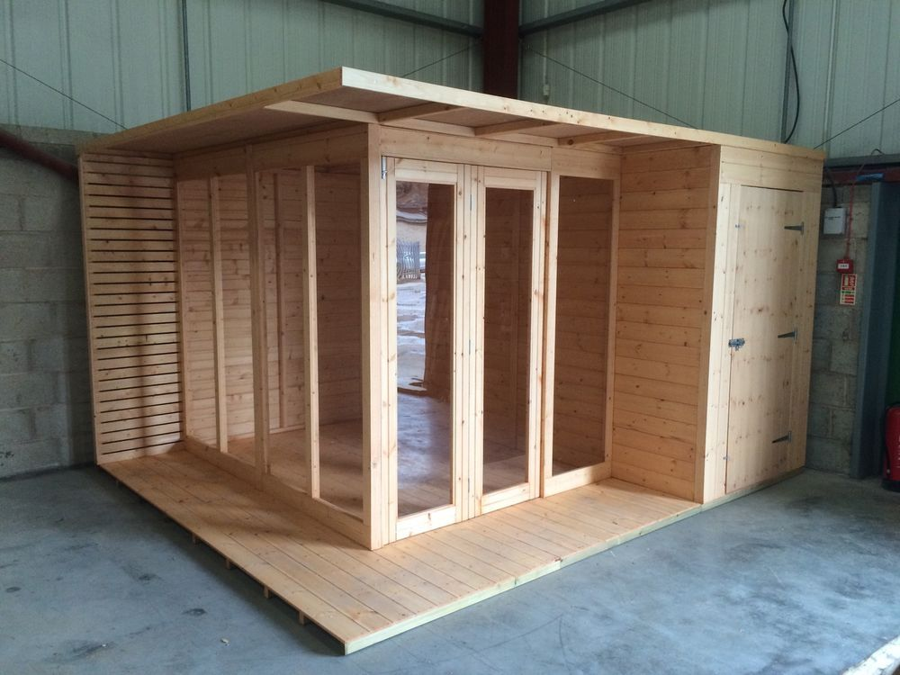 12x10 The Corner Cube Summerhouse And Shed Combo Corner Summer House Backyard Sheds Corner Sheds