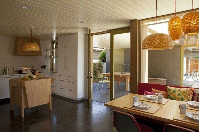 offene küche mit kleiner kücheninsel essbereich und dunklen - offene küche planen