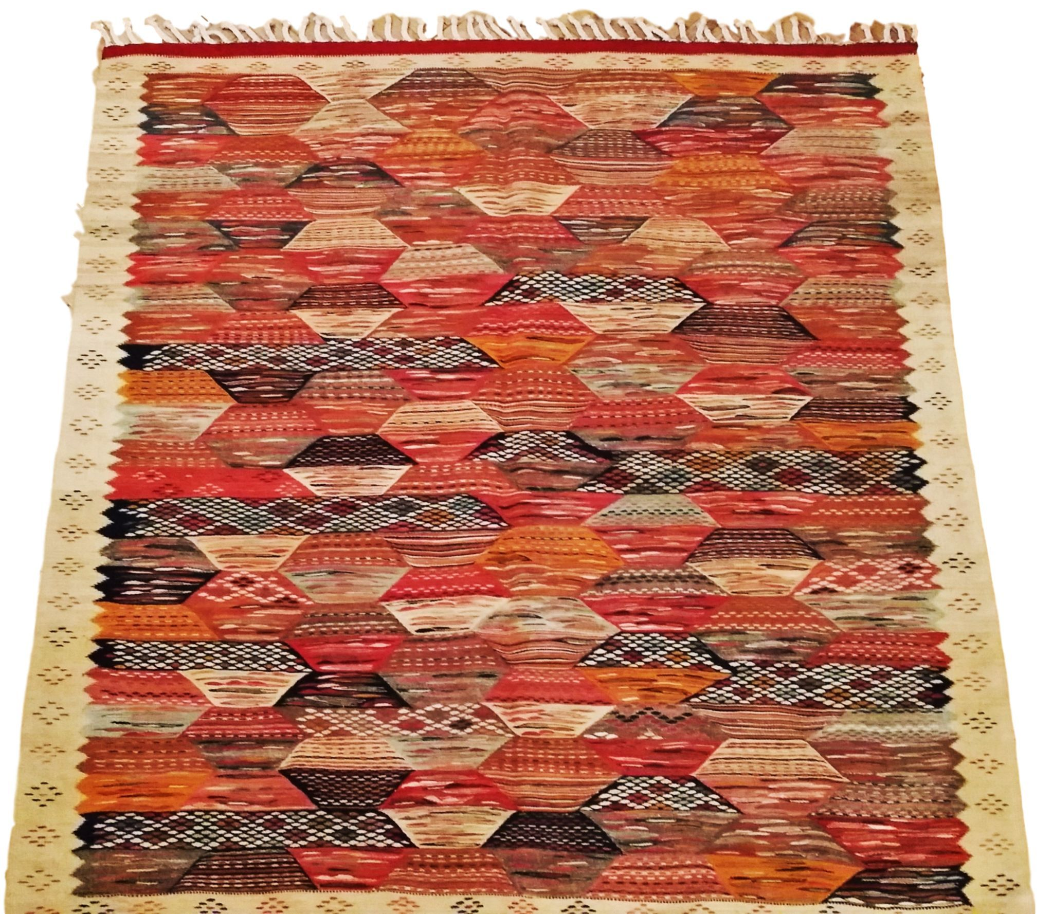 Moroccan Rug Zanafi Handmade Wool Carpet Multicolor Reversible