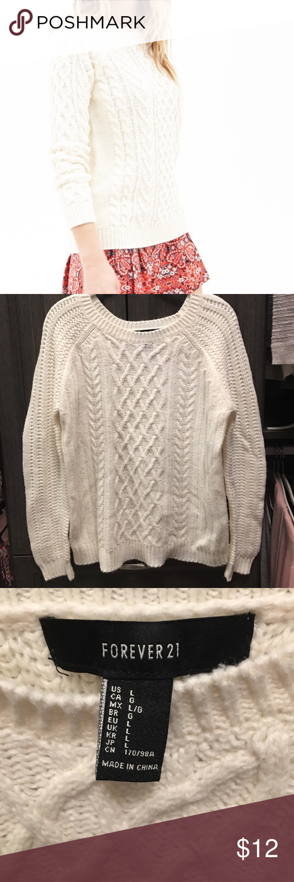 Cream Chunky Knit Sweater Cream colored chunky cable knit sweater ...