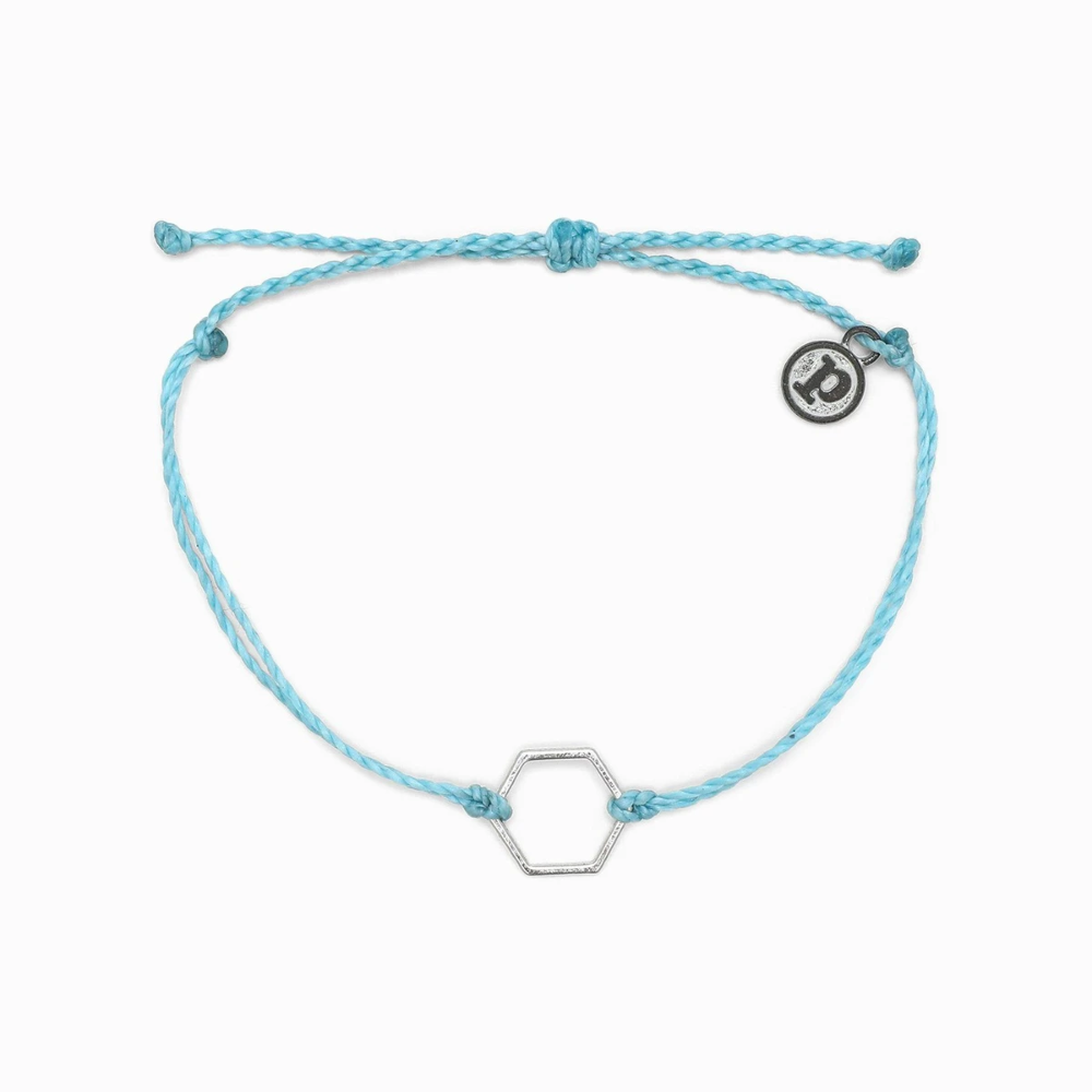Hexagon Charm Pura Vida Bracelets in 2020 Light blue