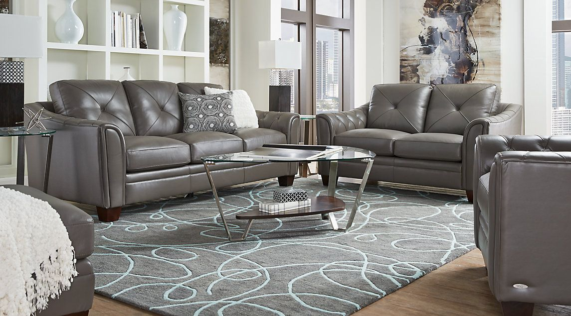 Affordable Cindy Crawford Living Room Sets Rooms To Go Furniture Grey Leather Living Room Furniture Leather Couches Living Room Leather Living Room Furniture