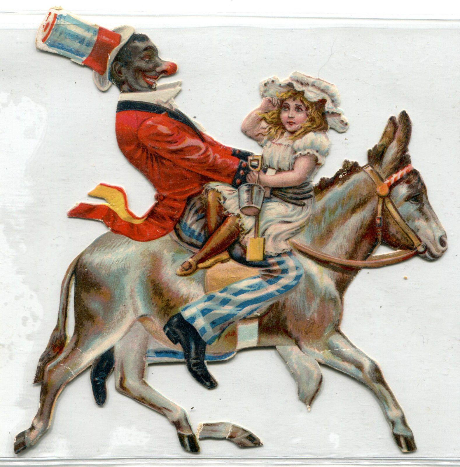 Black American Clown Riding Donkey with Child Die Cut Victorian Trade Card | eBay