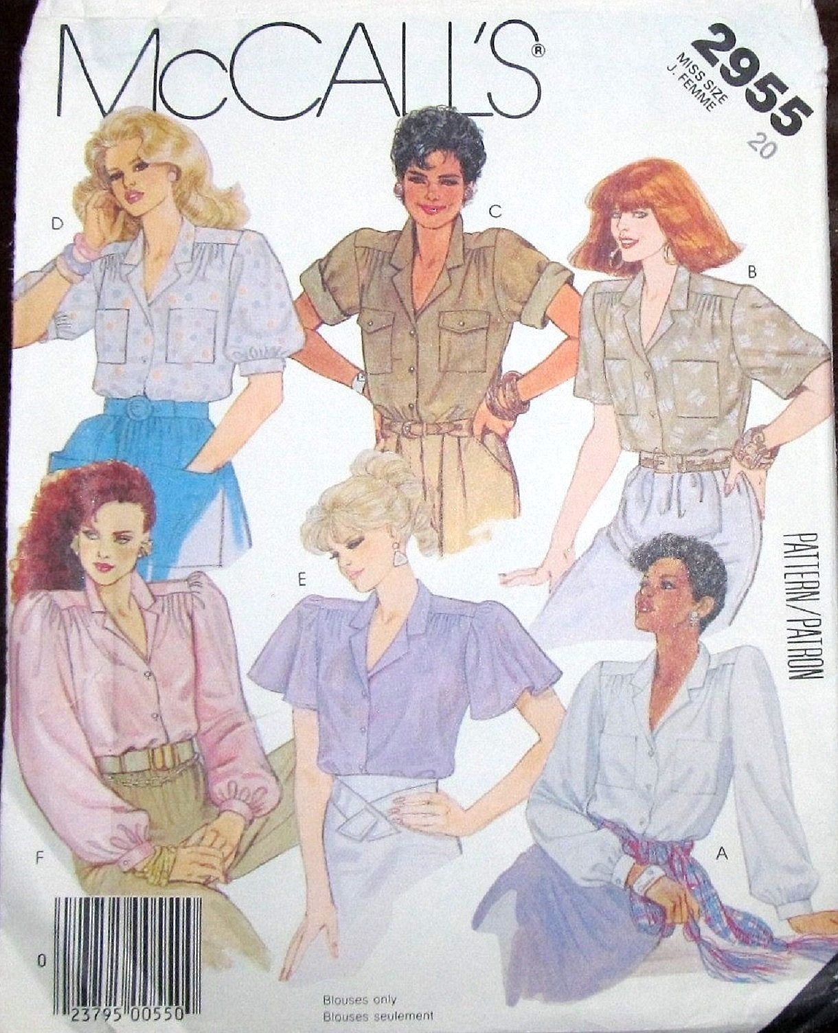 Easy vintage 1980s sewing pattern mccalls 2955 button down blouse easy vintage 1980s sewing pattern mccalls 2955 button down blouse tuck in camp shirt womens misses jeuxipadfo Images