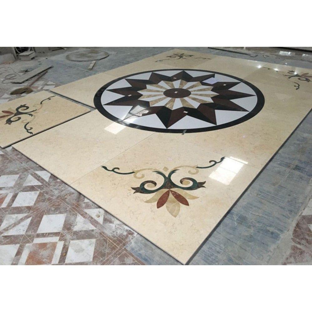 Waterjet Granite Marble Mixed Geometric Floor Designs Inlay Tile