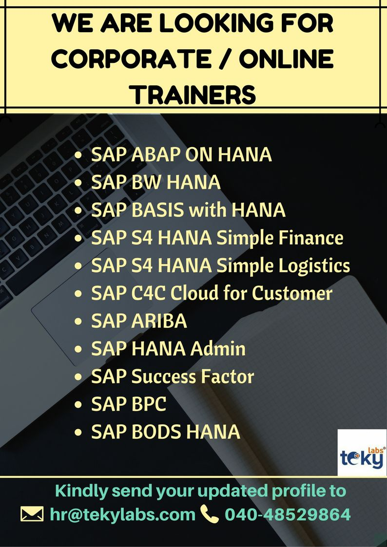 SAP Online Trainer Jobs Sap, Online jobs, Success factors