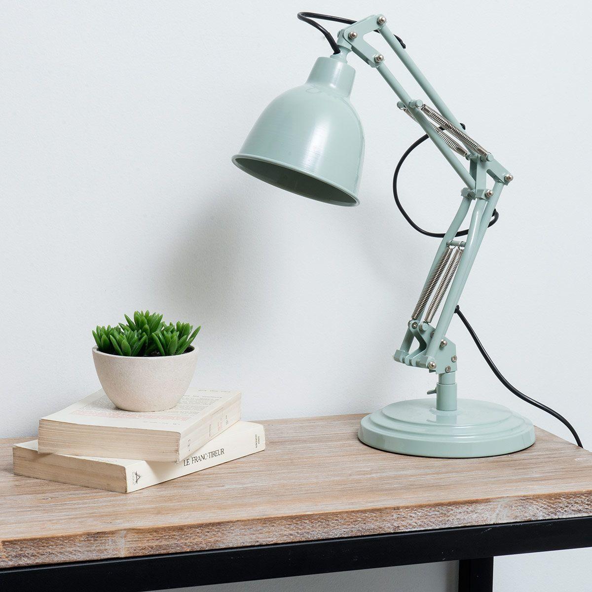 lampe de bureau indus orientable en m tal bleue h 49 cm. Black Bedroom Furniture Sets. Home Design Ideas