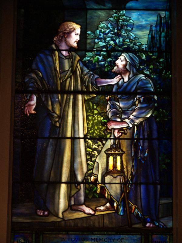Description: Lockport, New York (NY): First Presbyterian Church: Nicodemus Came to Him by Night (1910, Tiffany Studios)