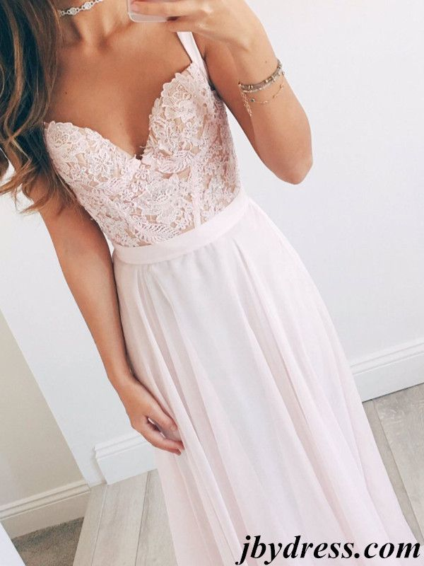 A Line Sweetheart Neck Light Pink Long Lace Prom Dress