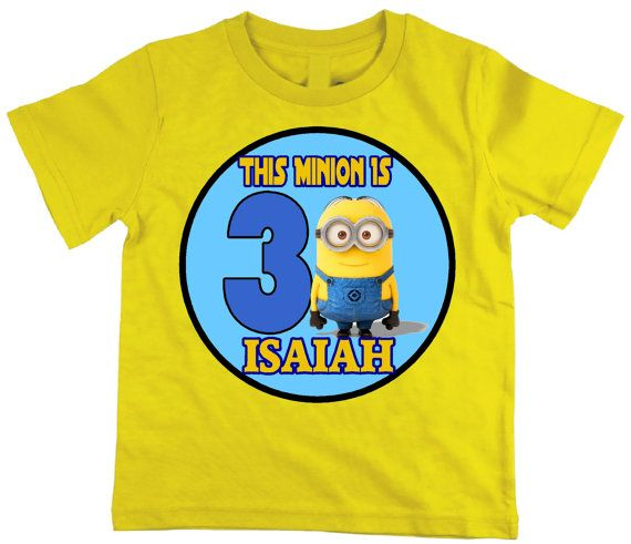 Cute Minion Birthday COLOR TShirt Many Colors By MolliesCottage 1499