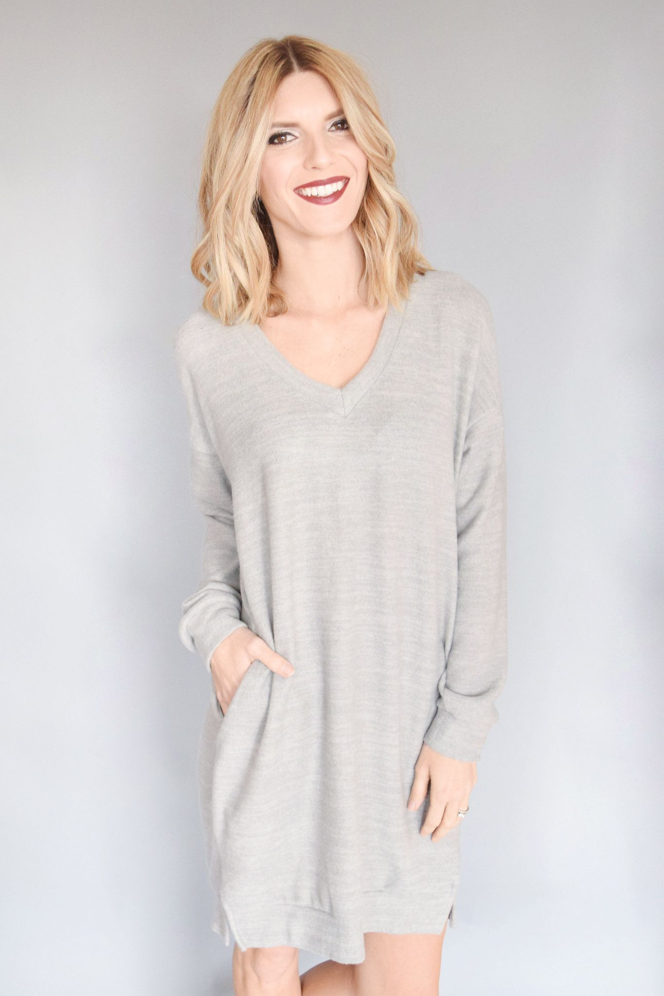 Long sleeve pocket dress grey winter season final sale and knee