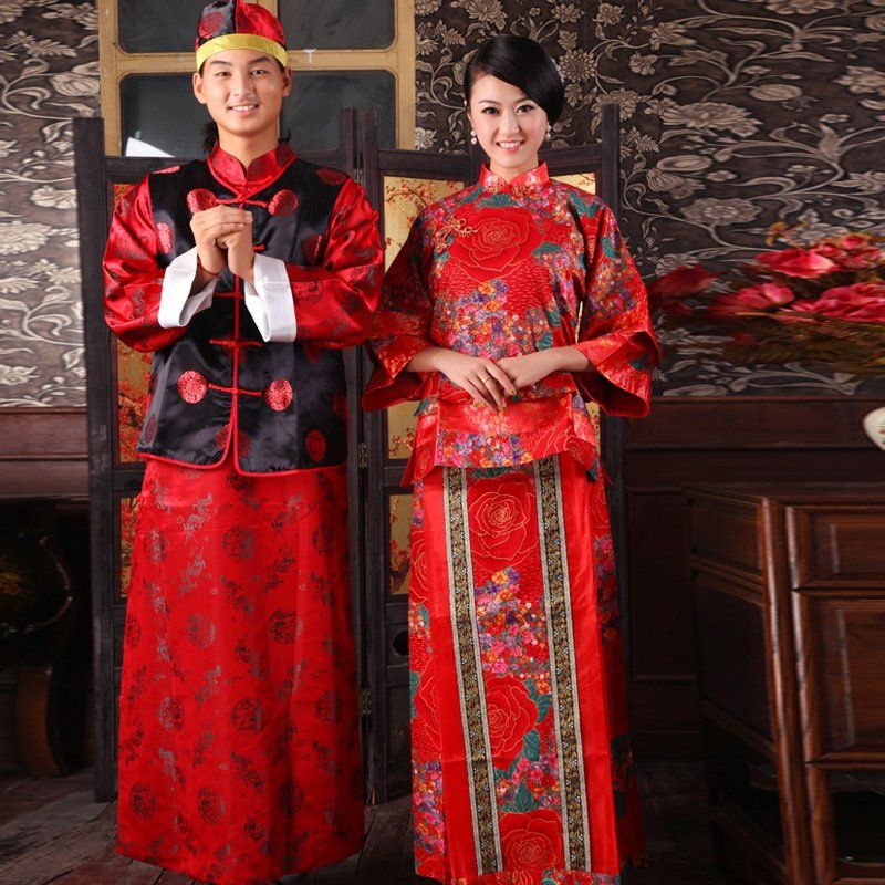 Bride Chinese Style Wedding Dress Male Women S Costume Size Fits All