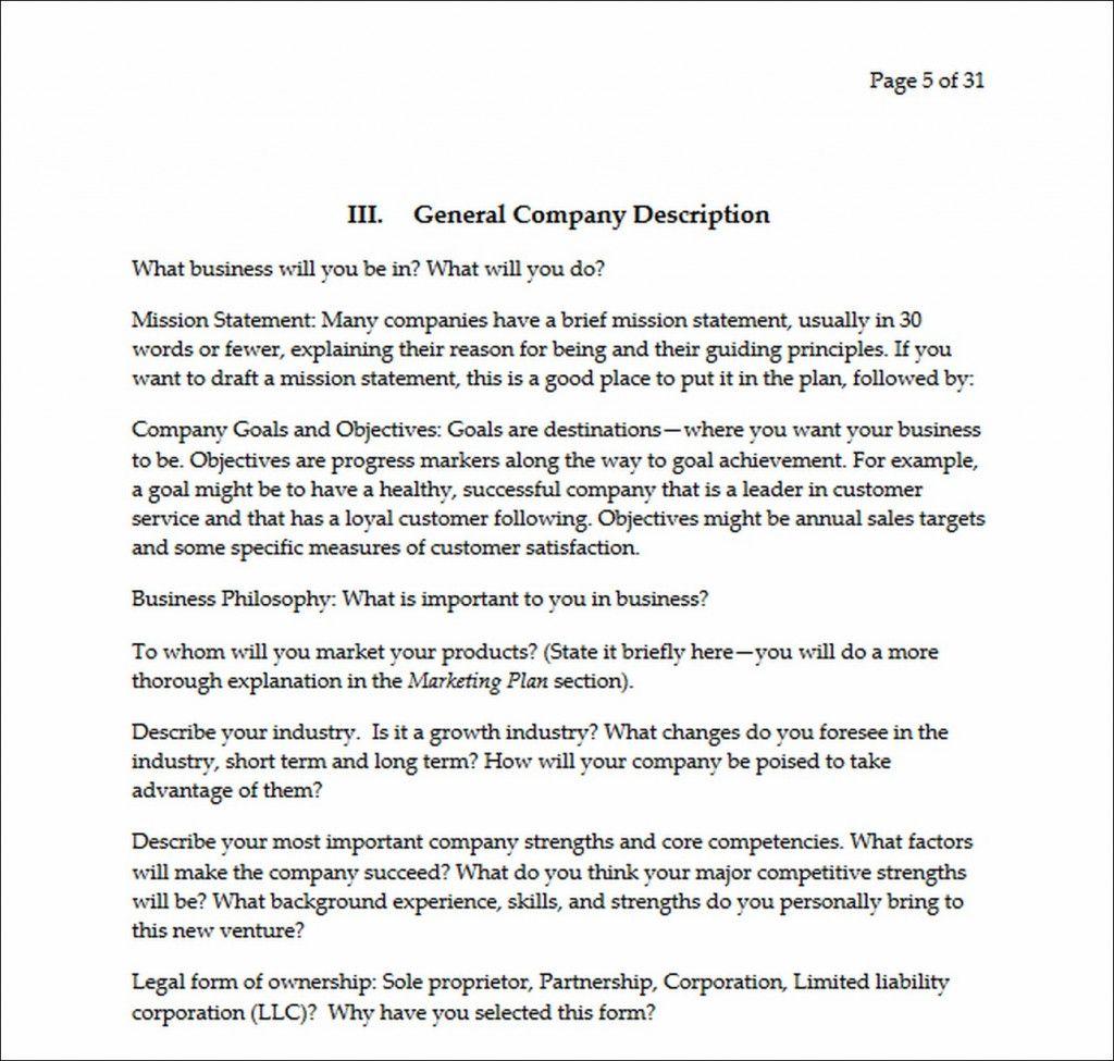 Company Description Example Business Plans Plan Template