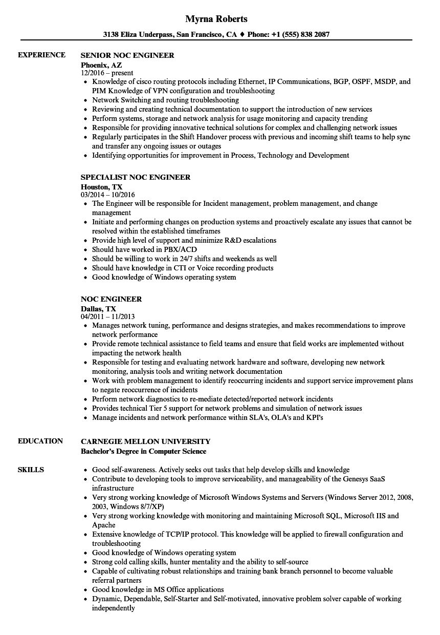 Noc Engineer Resume Samples in 2020 (With images
