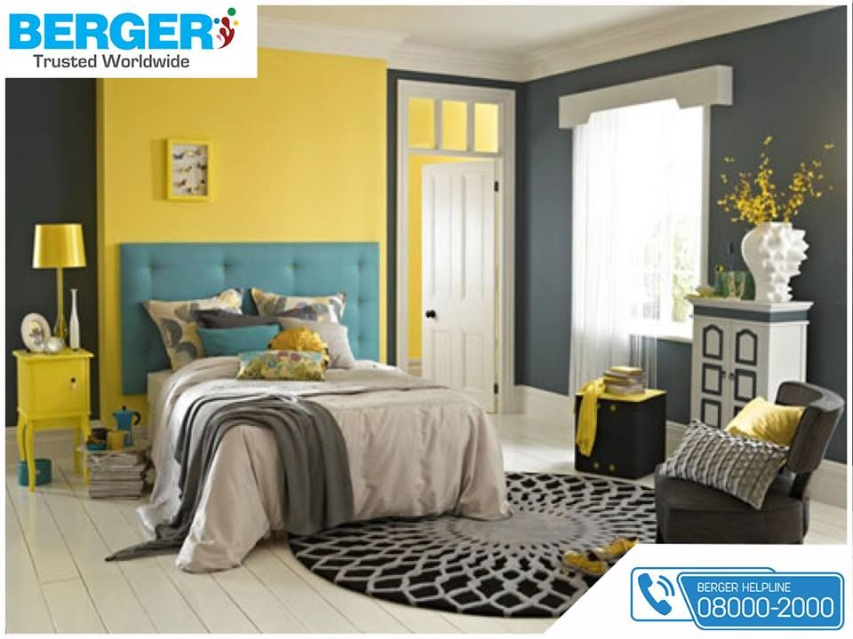 Try yellow and grey paint in your bed room berger paints bergerpaints paints