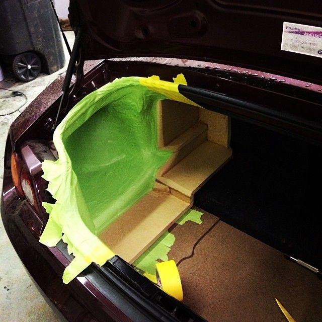 the beginnings of a fiberglass corner box in a bmw z4 car audio custom installs custom car. Black Bedroom Furniture Sets. Home Design Ideas