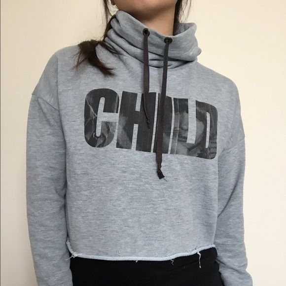 """Zara TRF Heather grey crop funnel sweater small Great condition. Rare cropped sweater. Graphic """"CHILD"""" on chest. Raw edges, funnel turtle neck with drawstring. Size small. Bundle to save 25%! Zara Sweaters Cowl & Turtlenecks"""