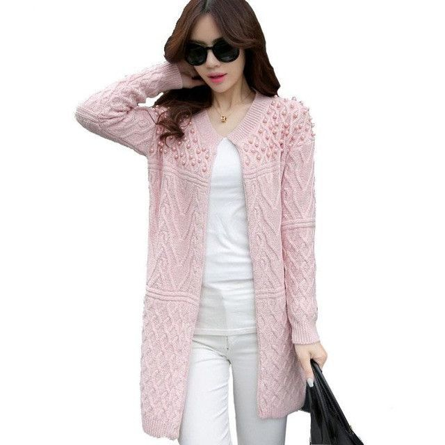 Beading O-neck Long Knitted Sweater | Products | Pinterest