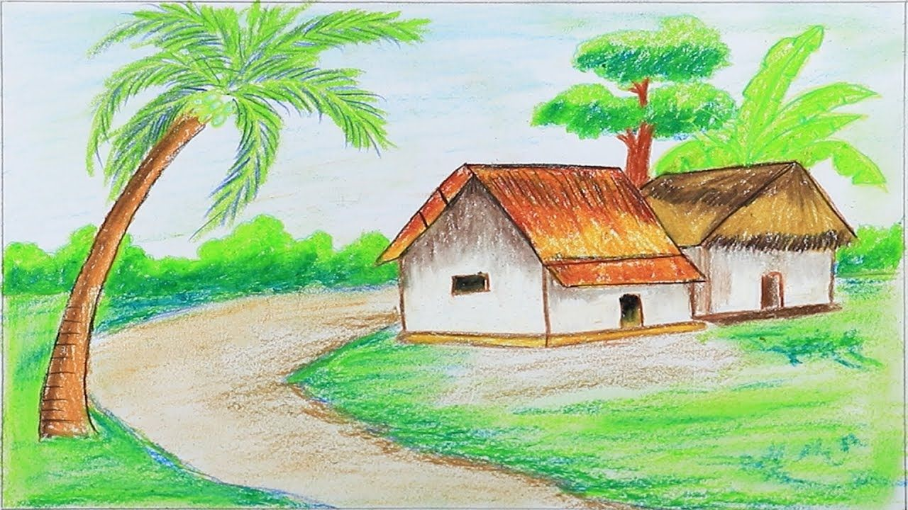 How To Draw Village Scenery Step By Step With Oil Pastels Very Easy
