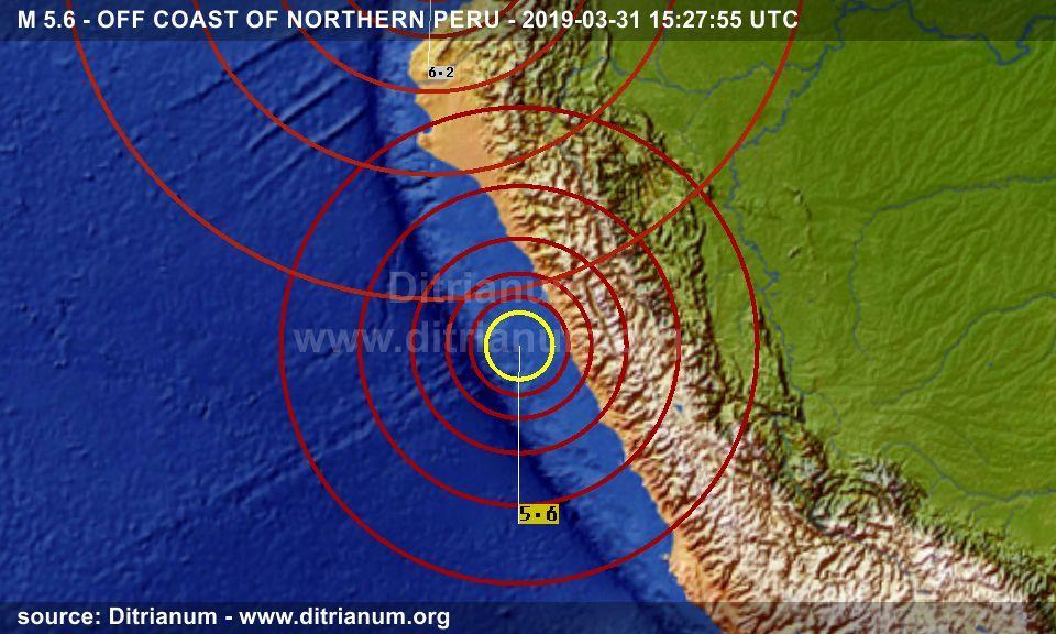 Earthquake M 5 6 Off Coast Of Northern Peru 2019 03 31 15 27 55 Utc