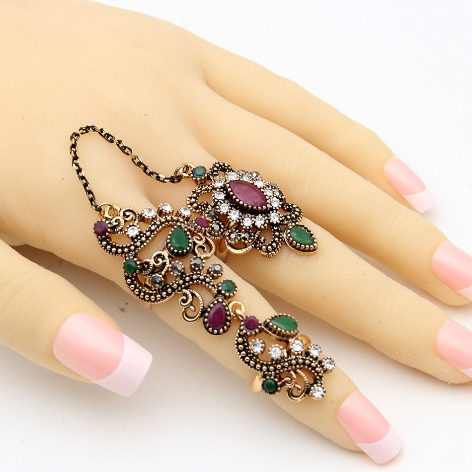 Vintage Flower Turkish Rings Adjustable Size Women Colorful Resin