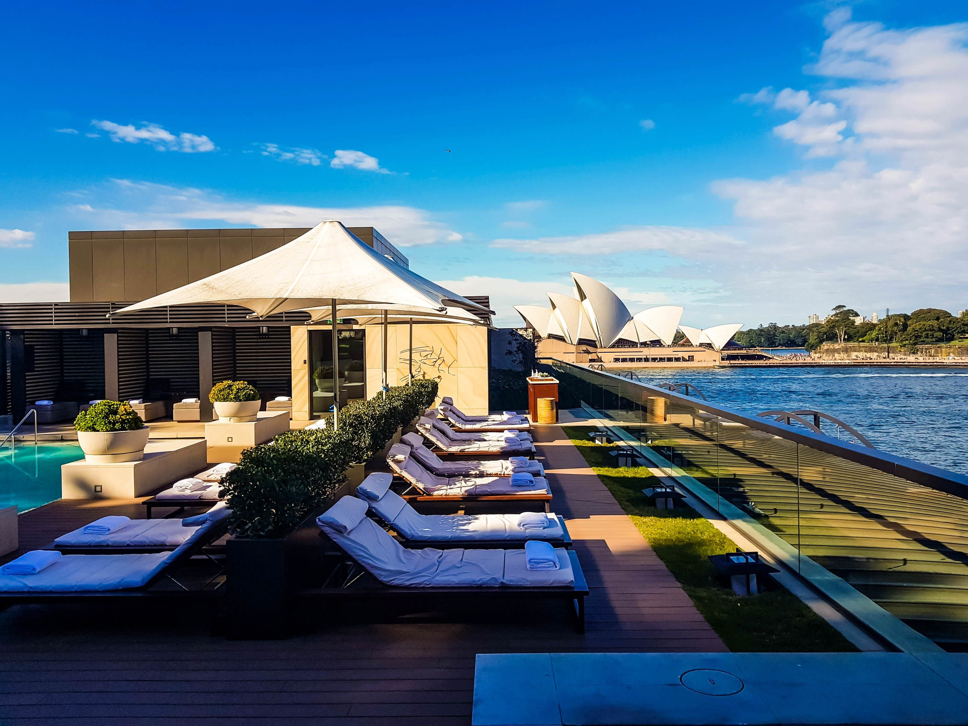 The view from the Park Hyatt Sydney rooftop pool on a sunny day is ...