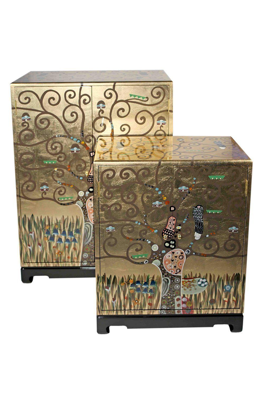 gustav klimt 2 er set schr nke der lebensbaum gustav klimt casa collection pinterest. Black Bedroom Furniture Sets. Home Design Ideas