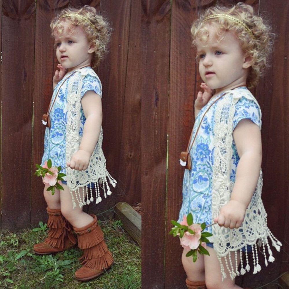 Toddler Kids Baby Girls Crochet Lace Hollow Cardigan Tops Vest Tassels Waistcoat