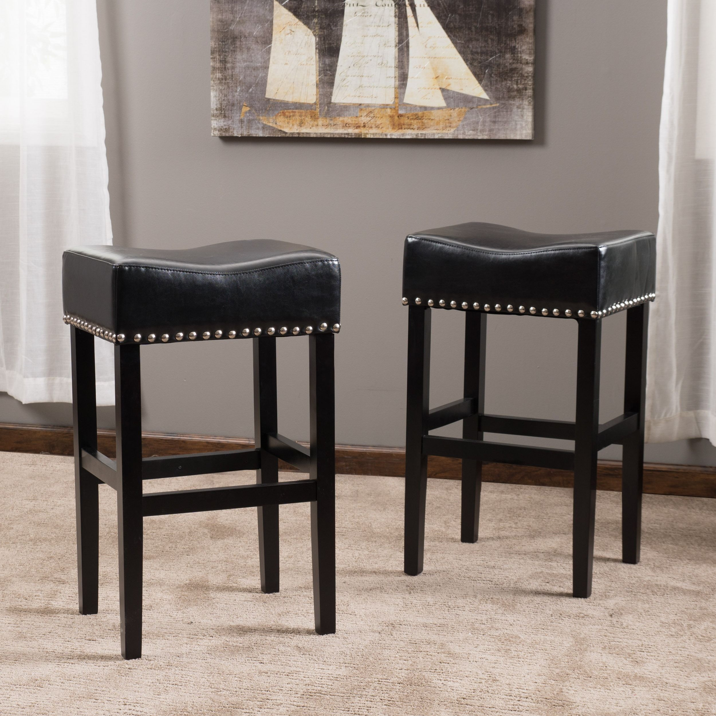 Lisette 30 Inch Backless Leather Bar Stool Set Of 2 By Christopher Knight Home Leather Bar Stools Bar Stools Leather Counter Stools