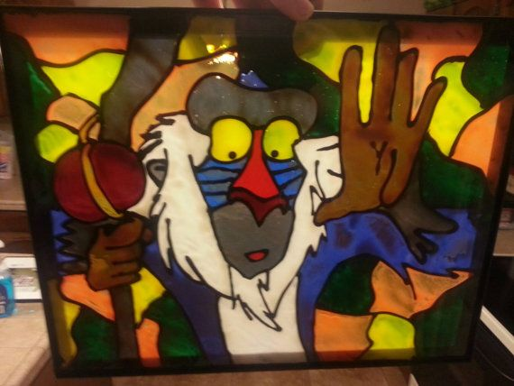 Rafiki faux stained glass by BorisCustoms on Etsy