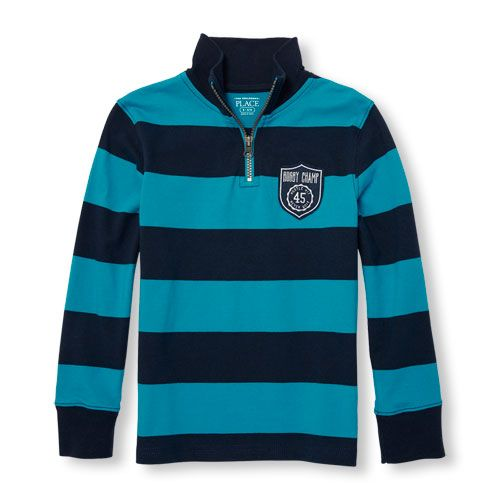 3187760e4 s Boys Long Sleeve Patch Rugby Stripe Half-Zip Mock Neck Top - Blue - The  Children's Place