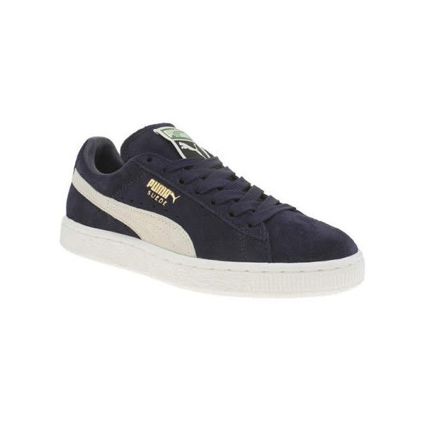 Puma Navy Suede Classic Trainers (€71) ❤ liked on Polyvore featuring shoes, sneakers, navy, puma shoes, suede leather shoes, navy suede shoes, suede sneakers y navy sneakers