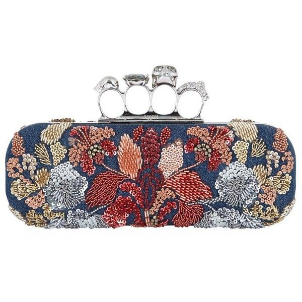 Alexander McQueen Embroidered Denim Knuckleduster Clutch (24 590 SEK) ❤ liked on Polyvore featuring bags, handbags, clutches, beaded purse, sequin purse, beaded clutches, sequin handbags and embroidered purse