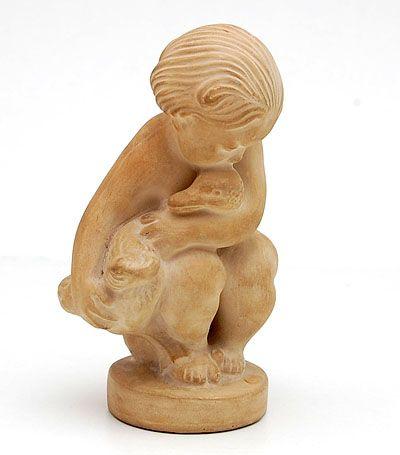 Earthenware sculpture Lille Leda design Kai Nielsen executed by Herman A Kähler Denmark ca.1920