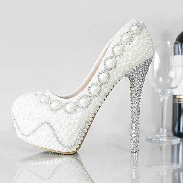 Free Shipping 2015 Glamorous Female Shoes Cheap Wedding Shoes Pearls Crystals Beads Pumps Shoes Gold Rhinestone Cheap Wedding Shoes Bridal Shoes Wedding Shoes