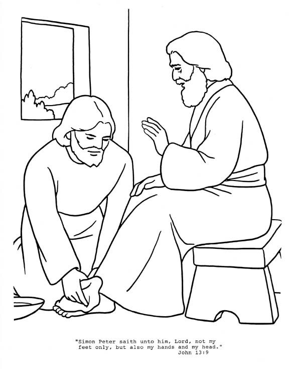 Jesus Washes Disciples Feet Coloring Page Sunday School Kids