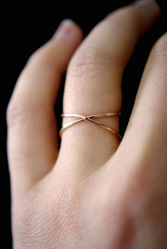 Rose Gold X ring rose gold criss cross ring 14k rose ...