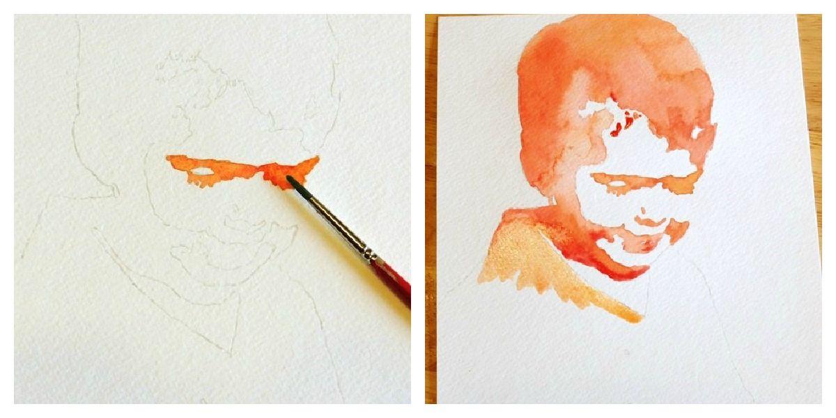watercolor portraits diy pinterest kunst anleitung. Black Bedroom Furniture Sets. Home Design Ideas