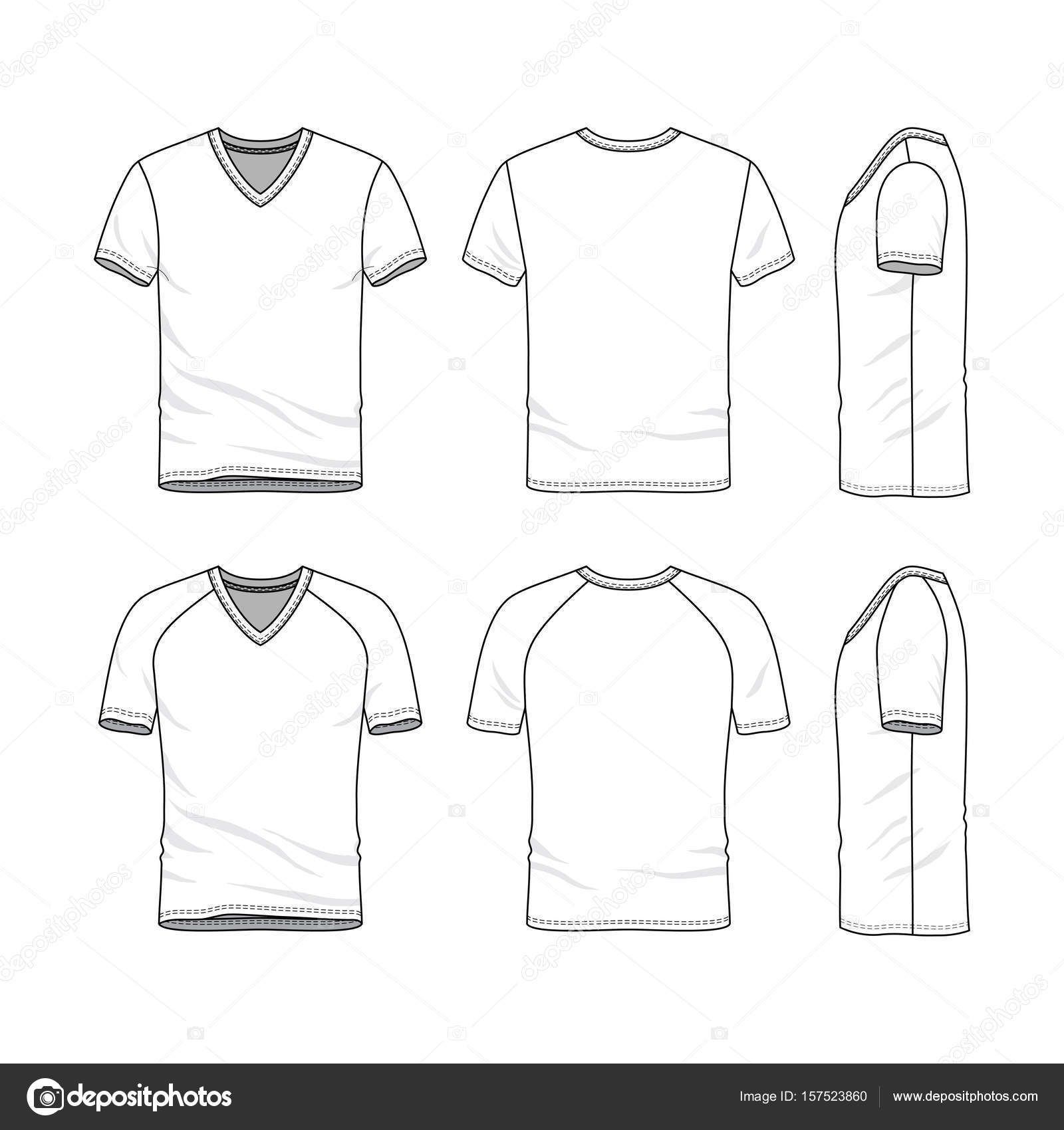 Vector Templates Of Blank T Shirt Stock Vector Intended For Blank V Neck T Shirt Template Best Sample In 2020 Shirt Template Blank T Shirts T Shirt Design Template