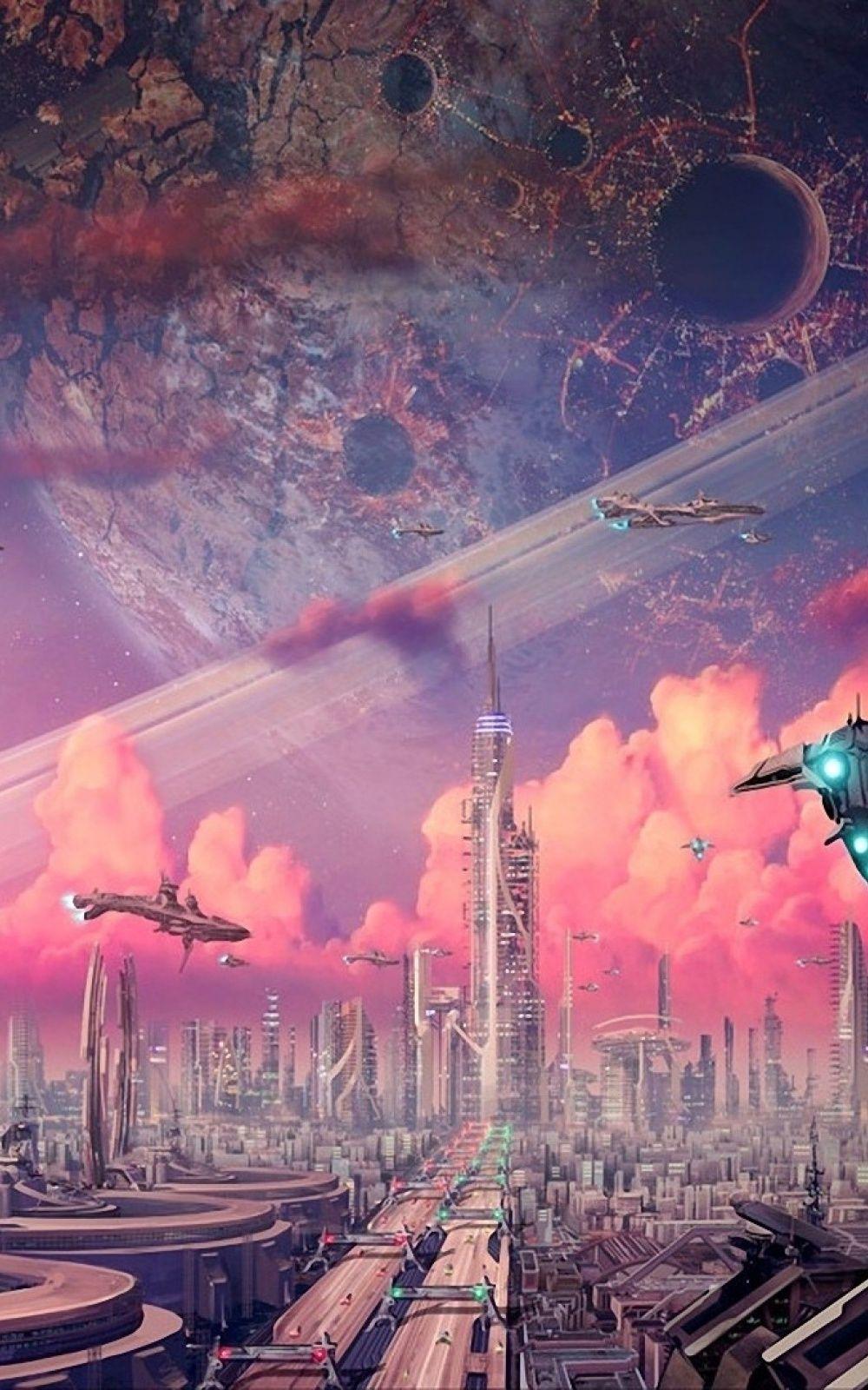 iphone ios 7 wallpaper tumblr for ipad moon sci fi and fiction futuristic city voltagebd Images