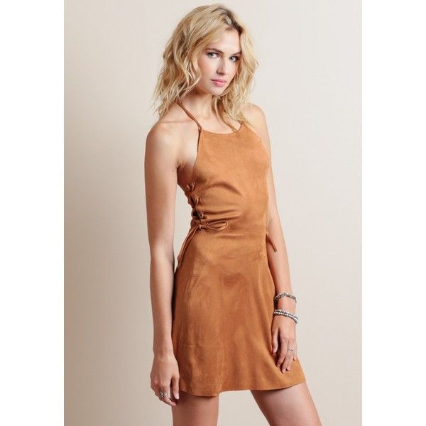 Bandit Faux Suede Dress ($27) ❤ liked on Polyvore featuring dresses, halter tops, sexy dresses, mini party dresses, beige cocktail dress and fit and flare cocktail dress