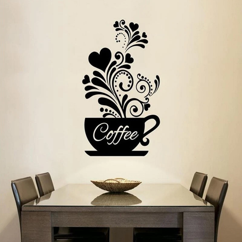 Coffee Cup Wall Art Mural Removable Pvc Wall Decal For Kitchen Coffee Room In 2020 Wall Stickers Wallpaper Decal Wall Art Wall Stickers Living Room #wall #decoration #stickers #for #living #room