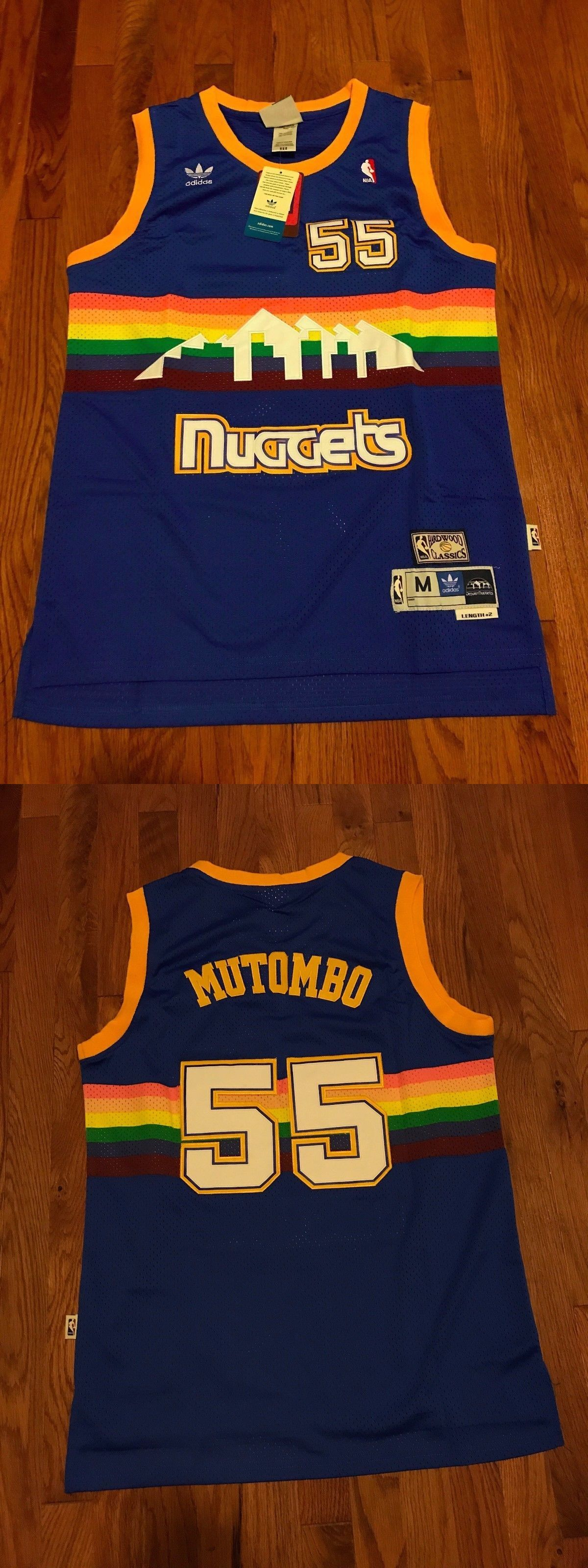 5d5afea1998 Basketball-NBA 24442  Denver Nuggets Dikembe Mutombo No.55 Rainbow  Throwback Swingman Jersey