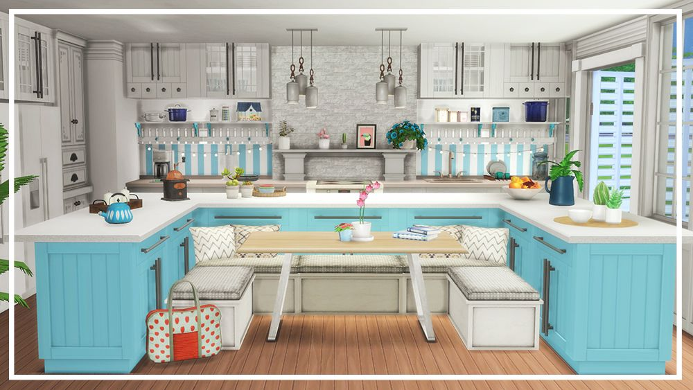 The Sims 4 Room Build Big Family Kitchen Sims House Sims 4 Cc Furniture Living Rooms Sims House Plans