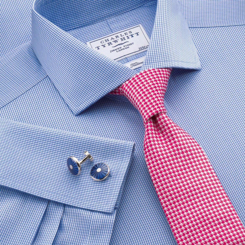 Blue puppytooth non iron tailored fit dress shirt for Mens dress shirts charles tyrwhitt