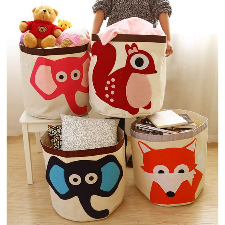 Large Baby Toys Storage Cartoon Fox Elephant Canvas Bags Laundry Hanging  Drawstring Bag Household Canvas Pouch