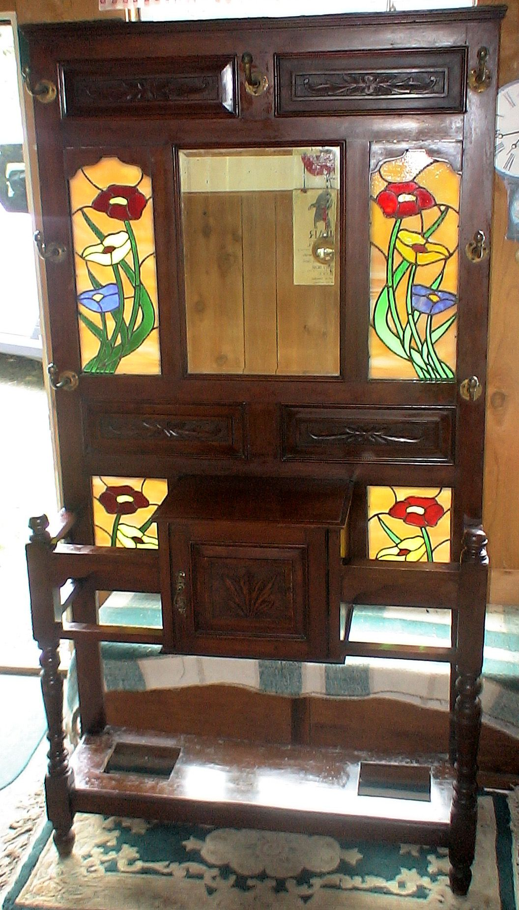 Antique Hall Tree Stained glass windows and Cabinet Early 1900's - Antique Hall Tree Stained Glass Windows And Cabinet Early 1900's