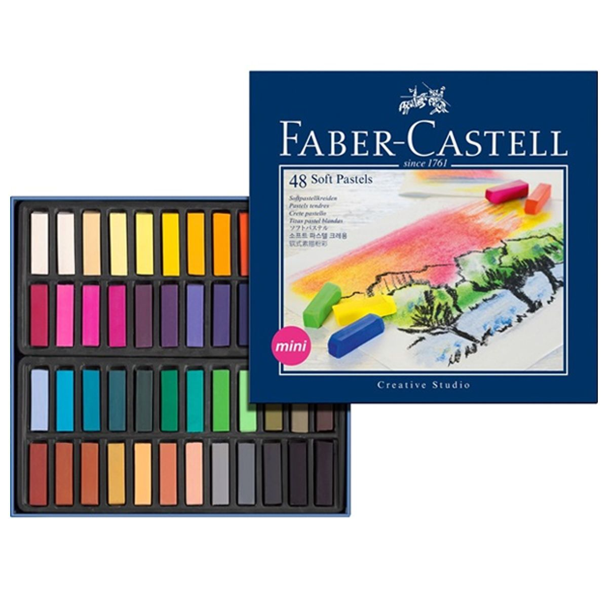 Faber Castell Artists Soft Pastels Box Set Of 48 Assorted Colours