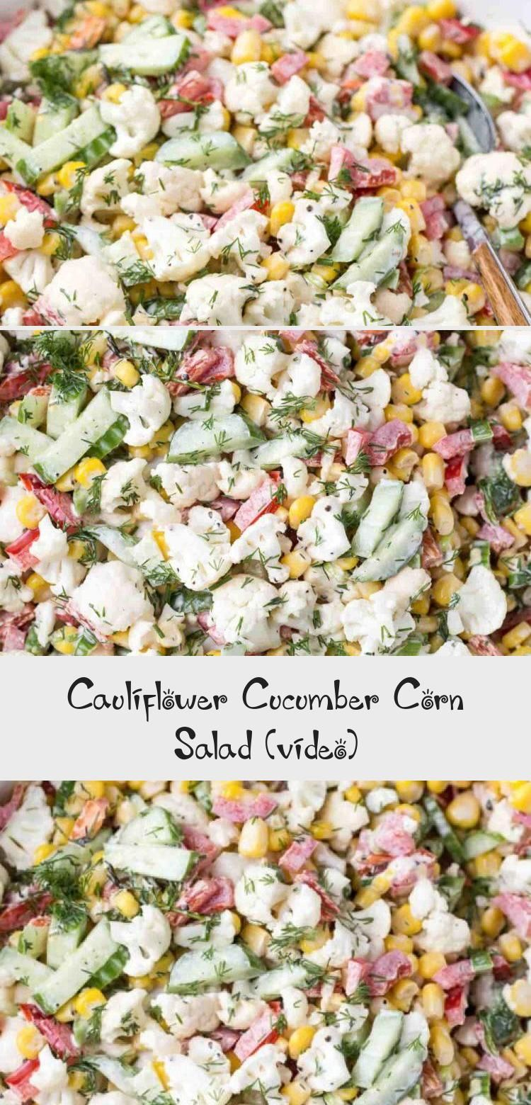 Simple salad recipe with cucumbers corn peppers and cauliflower Topped with a garlic mayo dressing The perfect salad for potlucks parties and dinner